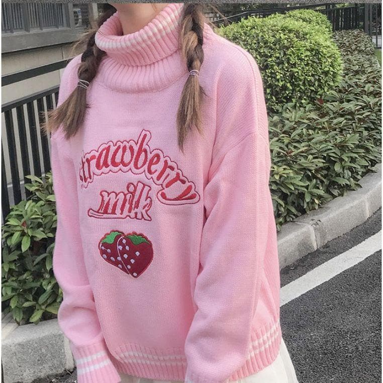 Strawberry Milk Knitted Turtleneck Sweater - authentic Asian fashion from Korea, Japan and China.