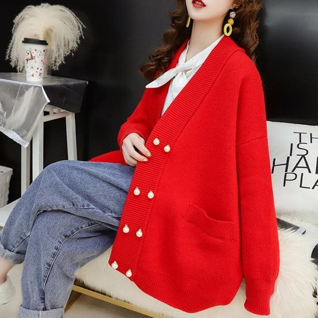 Oversized Cardigan with Pearl Buttons - authentic Asian fashion from Korea, Japan and China.