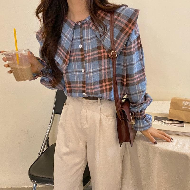 Plaid Blouse with Peter Pan Collar - authentic Asian fashion from Korea, Japan and China.