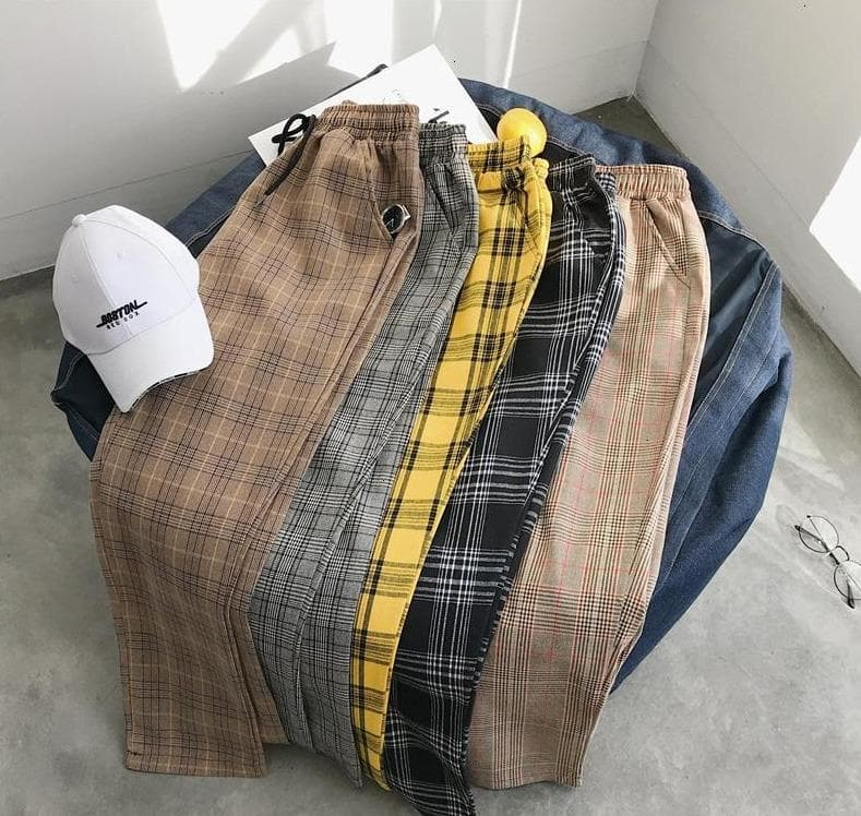 Plaid Joggers - authentic Asian fashion from Korea, Japan and China.