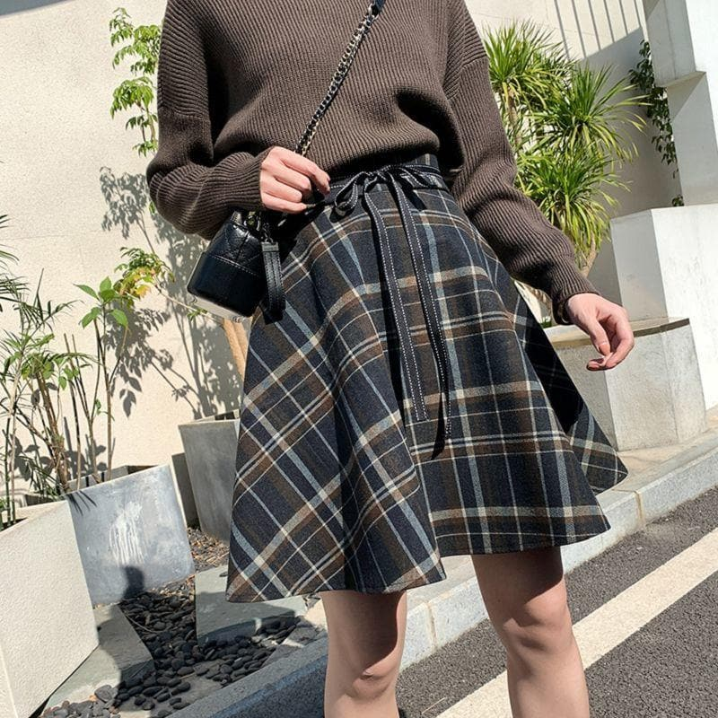 Plaid A-Line Skirt with Ribbon - authentic Asian fashion from Korea, Japan and China.