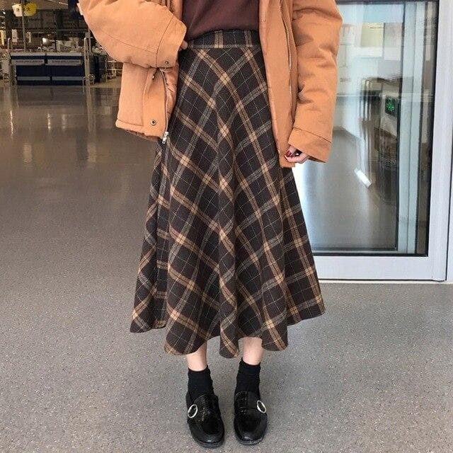 High Waist A-Line Skirt with Plaid Pattern - authentic Asian fashion from Korea, Japan and China.
