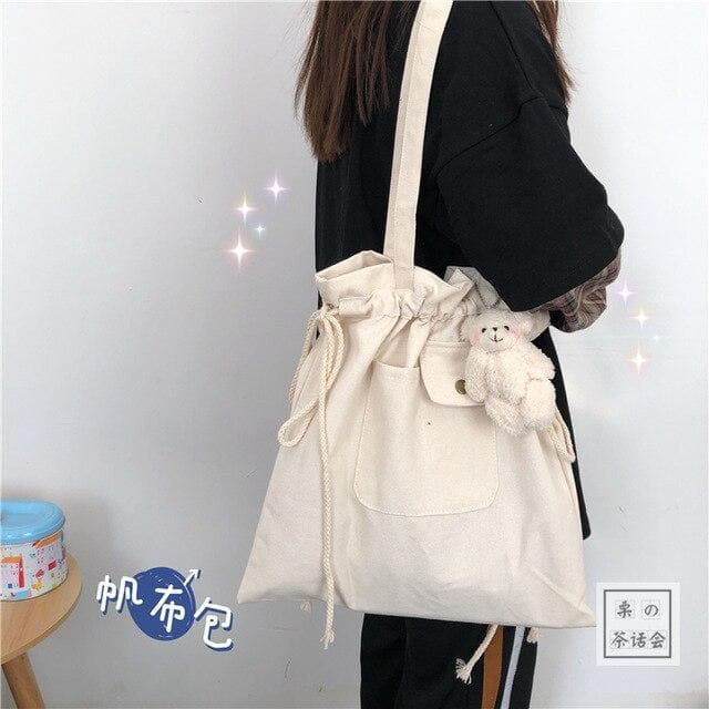 Shopper Bag with Drawstring - authentic Asian fashion from Korea, Japan and China.