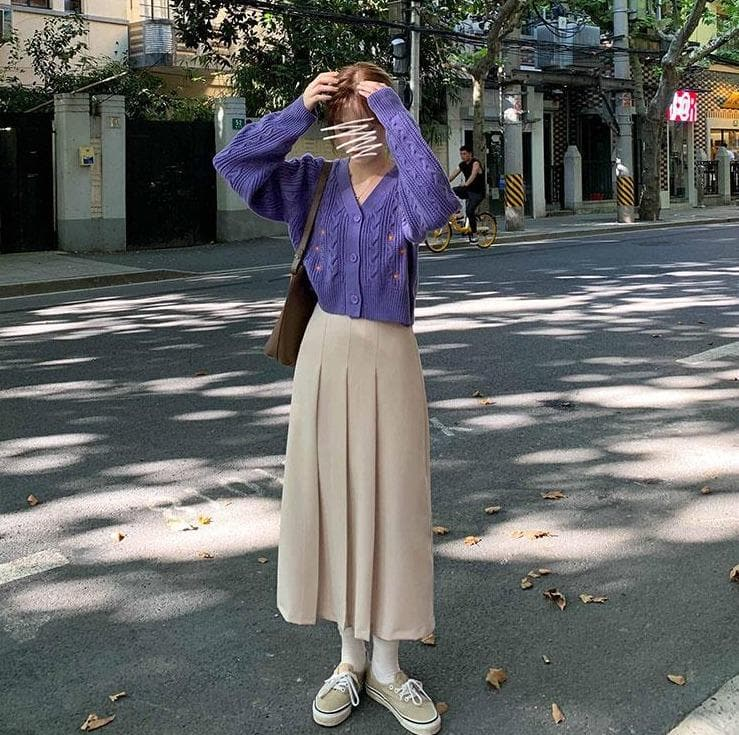 Pleated High Waist Skirt - authentic Asian fashion from Korea, Japan and China.