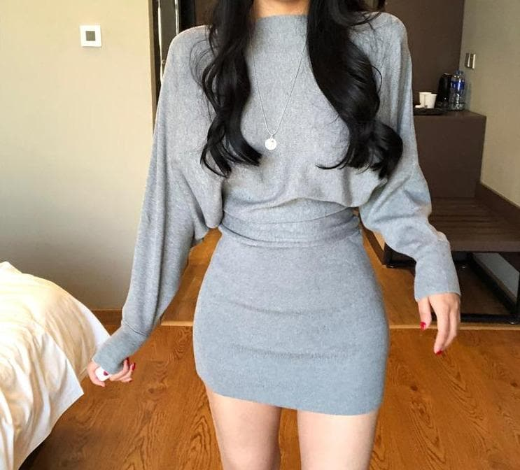 Knitted Bodycon Dress with Oversize Top - authentic Asian fashion from Korea, Japan and China.