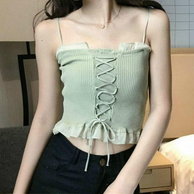 Camisole with Lacing Accents and Hem Ruffles - authentic Asian fashion from Korea, Japan and China.