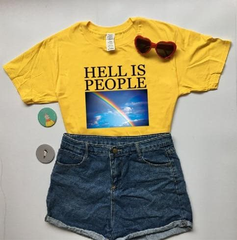 """HELL IS PEOPLE"" T-Shirt With Rainbow Print"