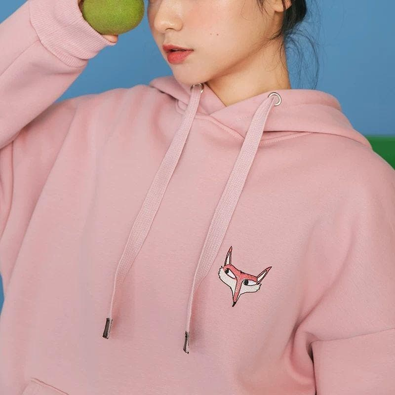 Lined Hoodie with Fox Embroidery - authentic Asian fashion from Korea, Japan and China.
