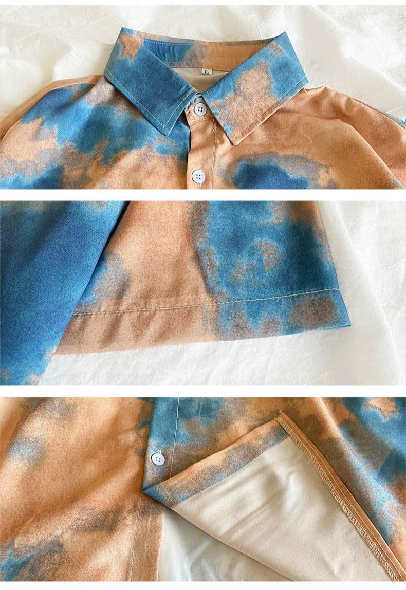 Tie Dye Button-Down Shirt - authentic Asian fashion from Korea, Japan and China.