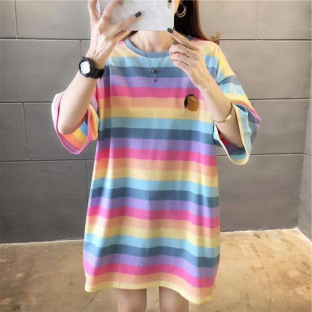 Rainbow Striped T-Shirt - authentic Asian fashion from Korea, Japan and China.