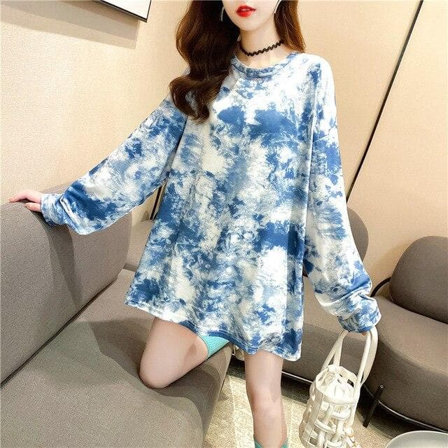 Oversized Tie Dye Longsleeve Shirt - authentic Asian fashion from Korea, Japan and China.