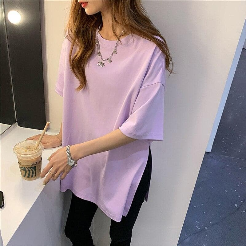 Oversized Tee with Side Splits - authentic Asian fashion from Korea, Japan and China.