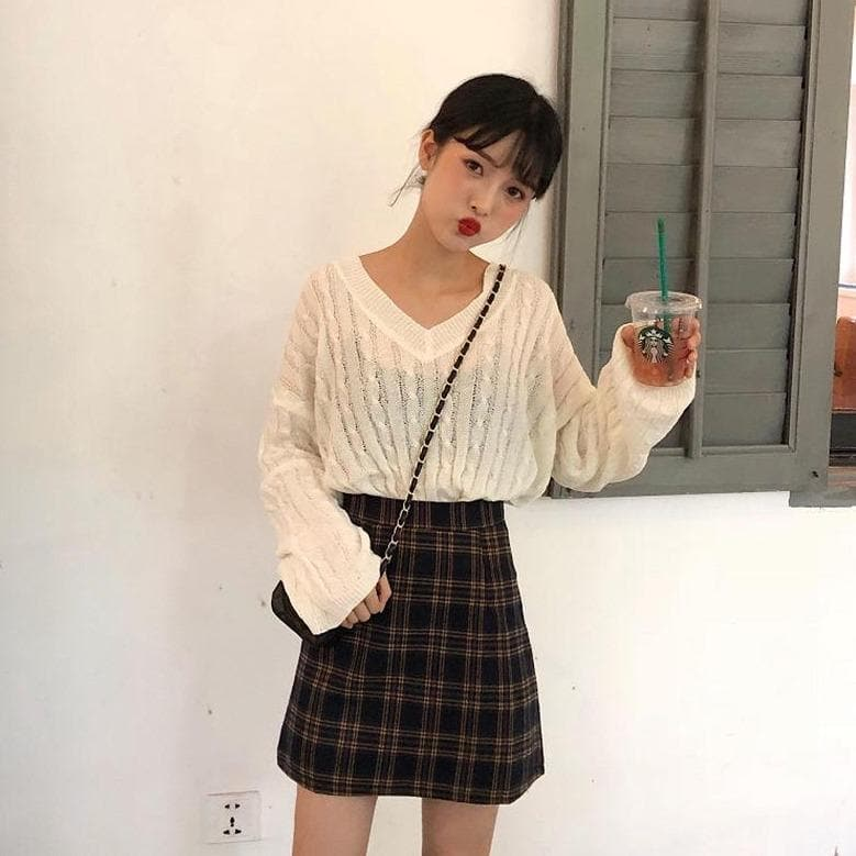 A-Line High Waist Skirt with Plaid Pattern - authentic Asian fashion from Korea, Japan and China.