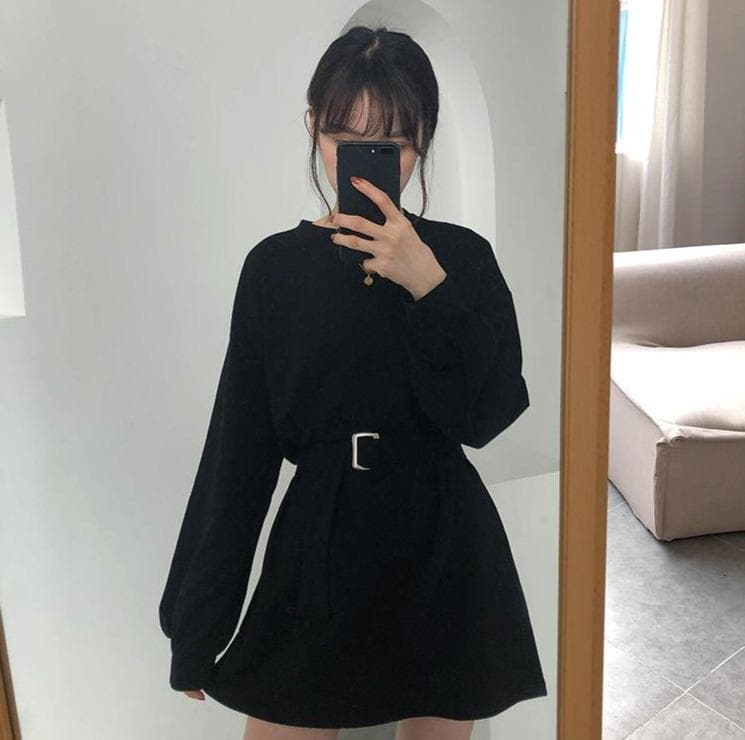 Oversized Sweater with Cinched Waist Belt - authentic Asian fashion from Korea, Japan and China.