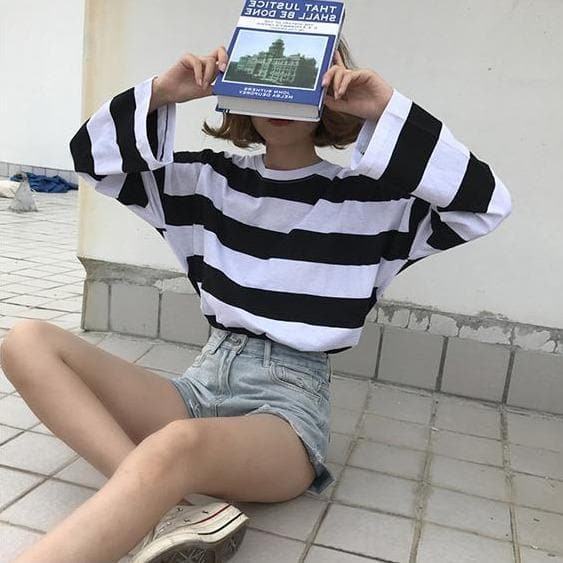 Striped Oversized Tee - authentic Asian fashion from Korea, Japan and China.