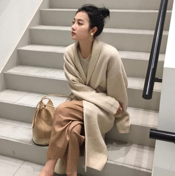 Long Knit Cardigan - authentic Asian fashion from Korea, Japan and China.