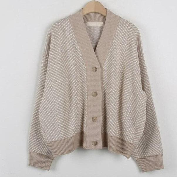 Knit V-Neck Cardigan - authentic Asian fashion from Korea, Japan and China.