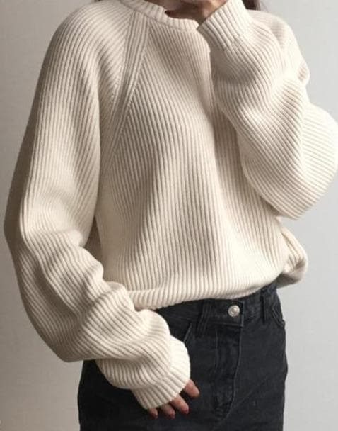 Knit Round-Neck Sweater - authentic Asian fashion from Korea, Japan and China.