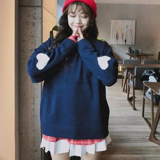 Sweater With Heart-Shaped Elbow Patches