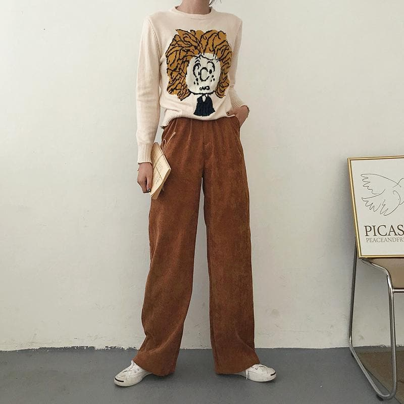 Corduroy High Waist Pants - authentic Asian fashion from Korea, Japan and China.