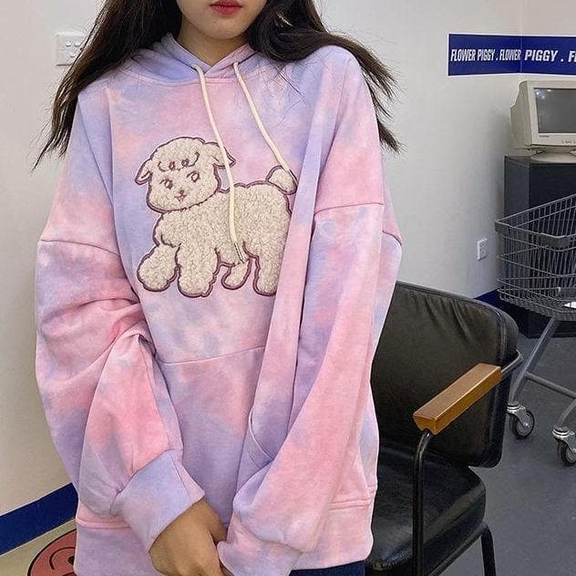 Pastel Tie Dye Sheep Hoodie - authentic Asian fashion from Korea, Japan and China.