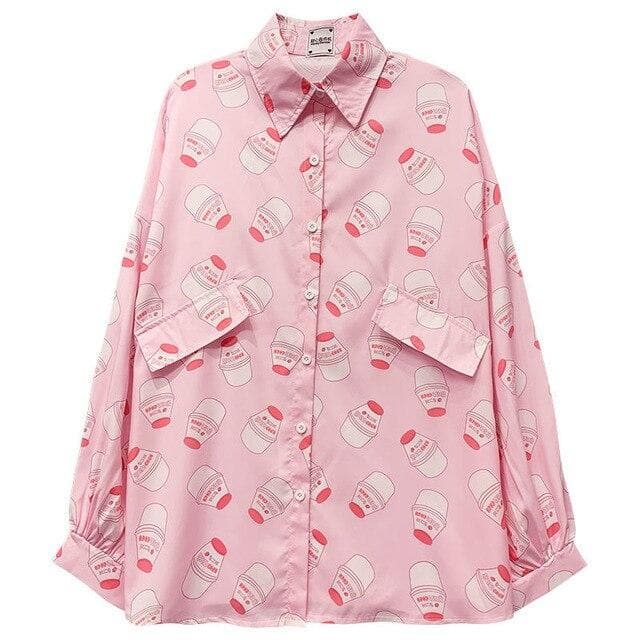 Buttoned Shirt with Strawberry Milk Print - authentic Asian fashion from Korea, Japan and China.