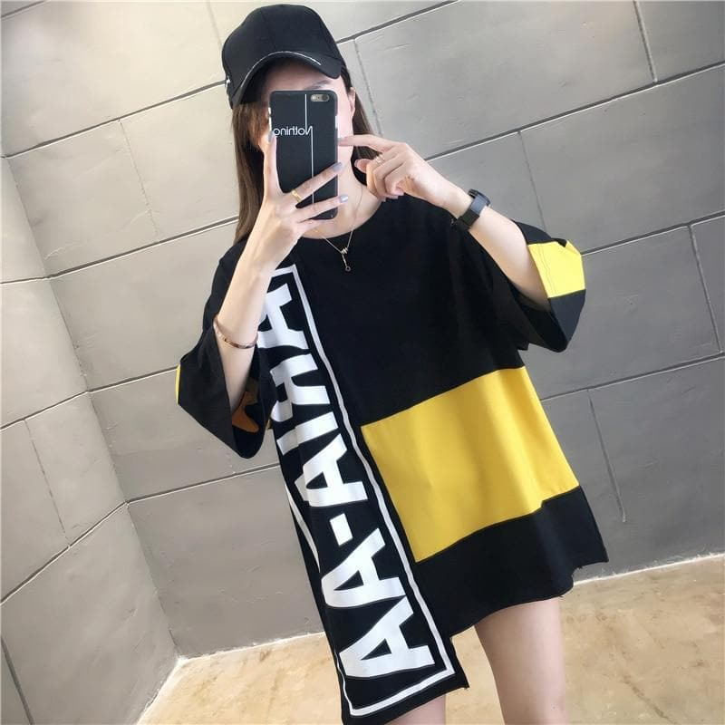 Oversized Patchwork Tee - authentic Asian fashion from Korea, Japan and China.
