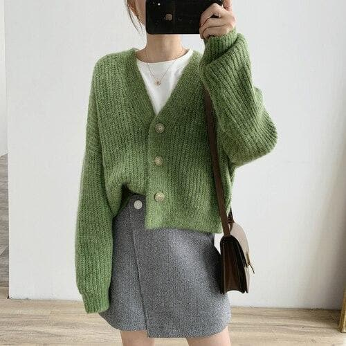 Oversized Knit Cardigan with Buttons - authentic Asian fashion from Korea, Japan and China.