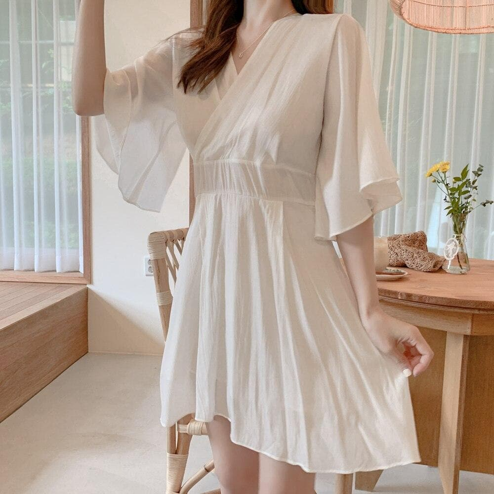 Kimono Style Mini Dress with Flare Sleeves - authentic Asian fashion from Korea, Japan and China.