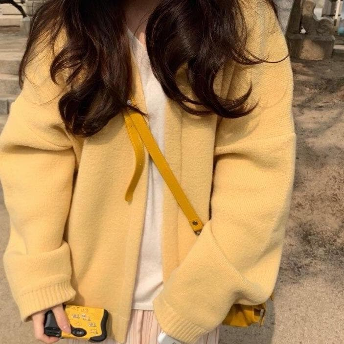 Yellow Knitted Cardigan - authentic Asian fashion from Korea, Japan and China.