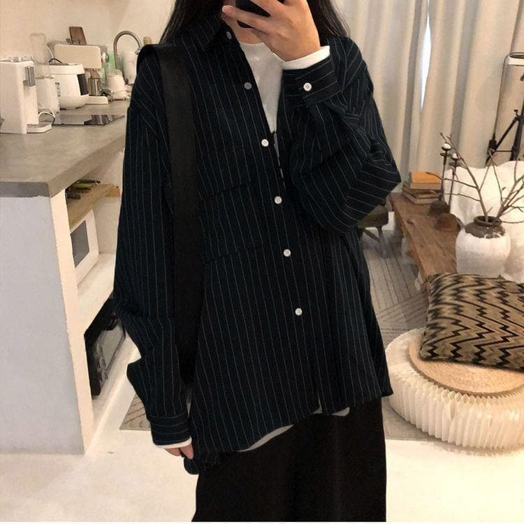 Pinstripe Button-Down Shirt - authentic Asian fashion from Korea, Japan and China.