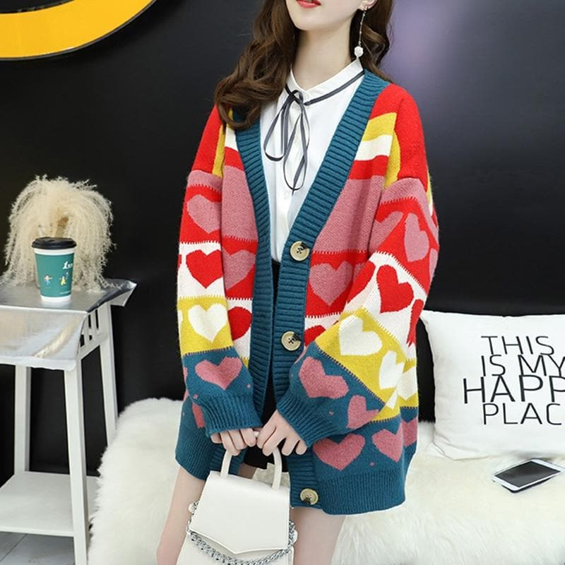 Oversized Cardigan with Heart Pattern - authentic Asian fashion from Korea, Japan and China.