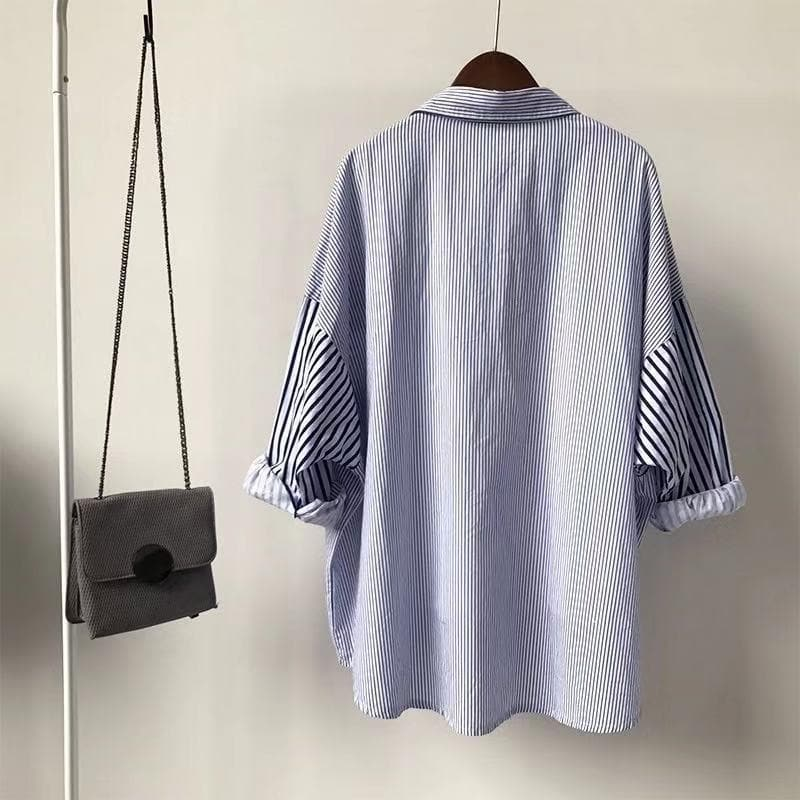 Oversized Button-Down Shirt with Striped Ruffle Sleeves - authentic Asian fashion from Korea, Japan and China.