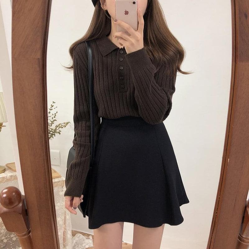 Collared Knit Sweater - authentic Asian fashion from Korea, Japan and China.
