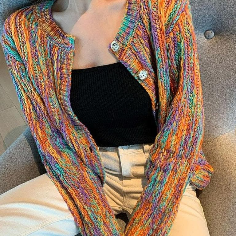 Colorful Knit Cardigan - authentic Asian fashion from Korea, Japan and China.