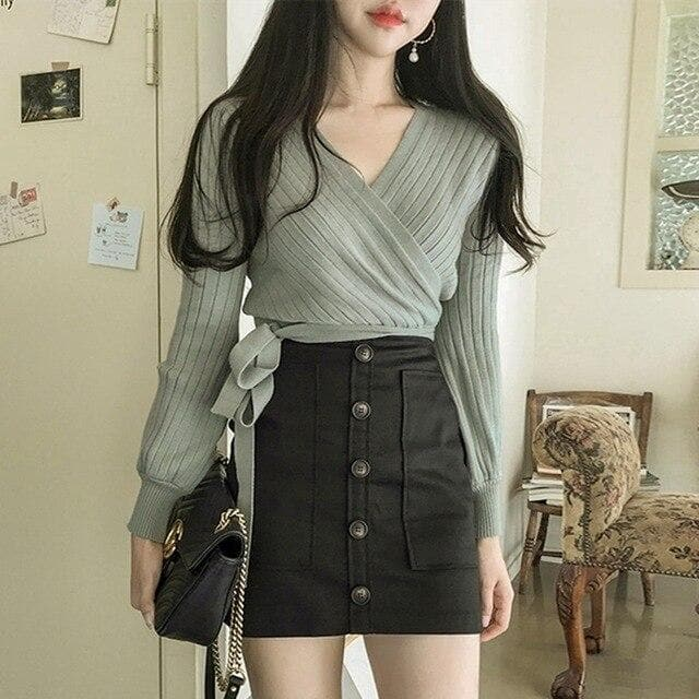 Knit Wrap Longsleeve Top - authentic Asian fashion from Korea, Japan and China.