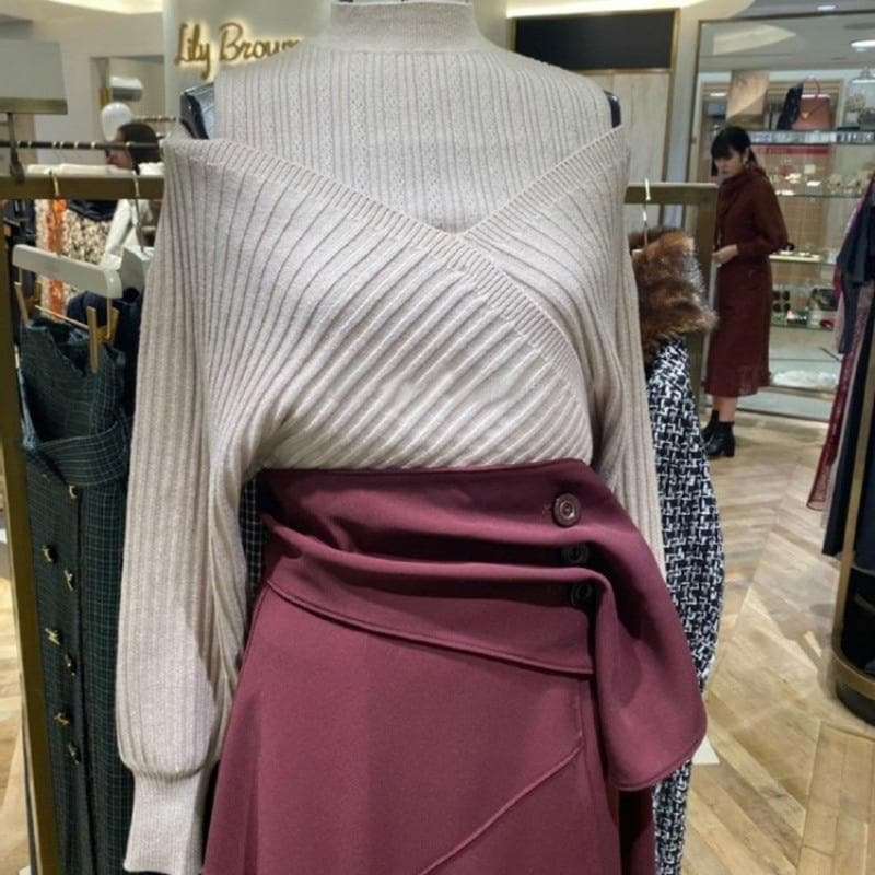 Cold-Shoulder Turtleneck Sweater - authentic Asian fashion from Korea, Japan and China.