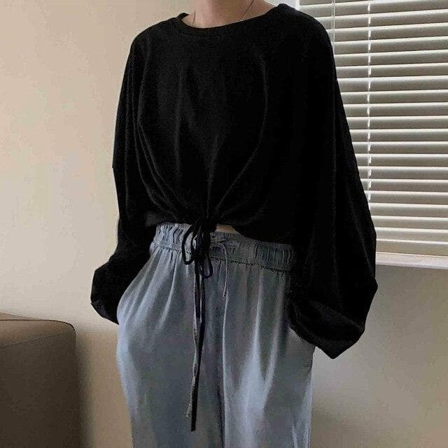 Oversized Crop Sweatshirt with Drawstring - authentic Asian fashion from Korea, Japan and China.