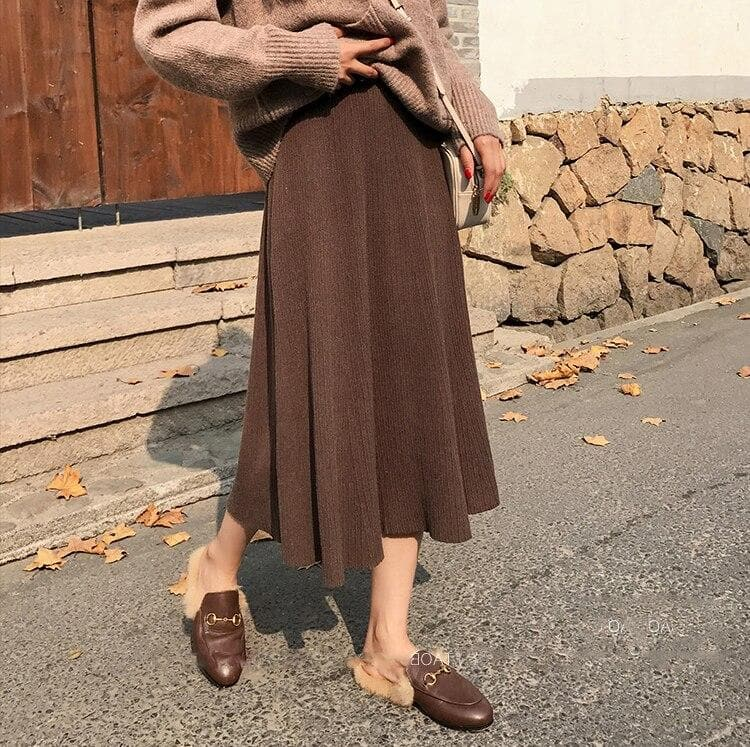 Knit Two-Piece-Set (Turtleneck Sweater + Skirt) - authentic Asian fashion from Korea, Japan and China.