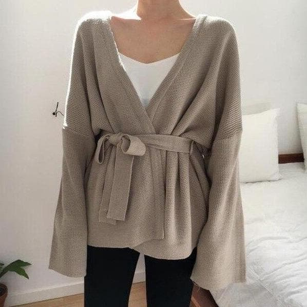 Knitted Wrap Cardigan - authentic Asian fashion from Korea, Japan and China.
