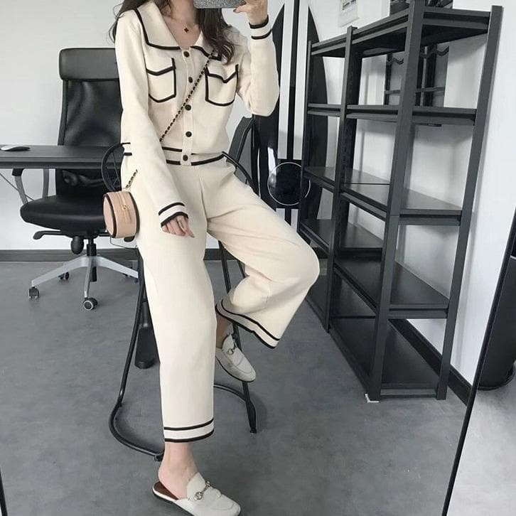 Two-Piece-Set (Blouse/Blazer + Wide-Leg Pants) - authentic Asian fashion from Korea, Japan and China.