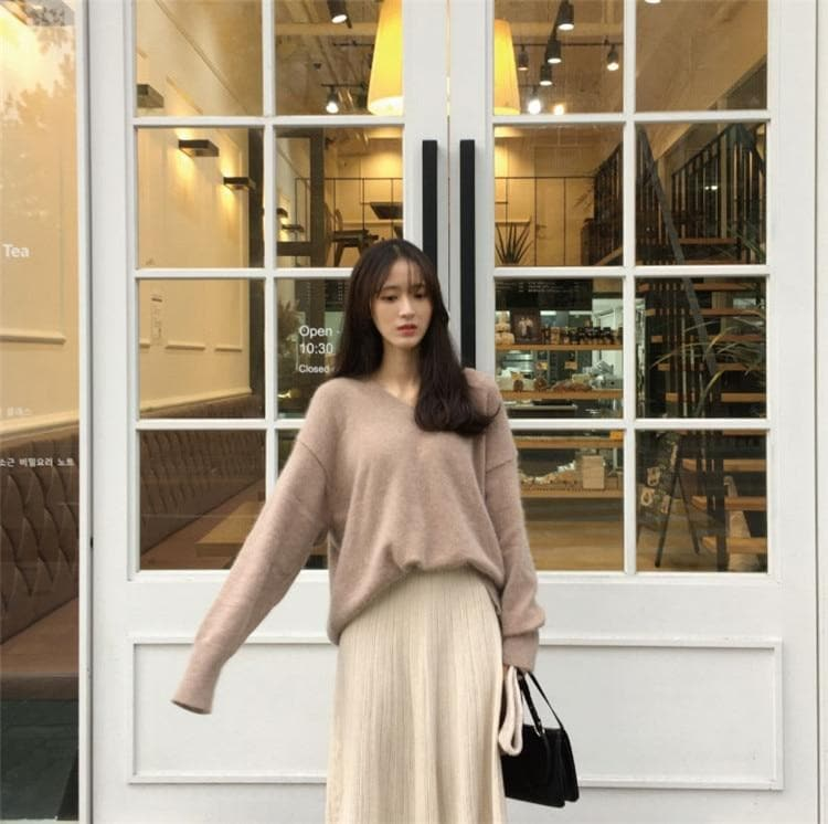 Oversized V-Neck Sweater - authentic Asian fashion from Korea, Japan and China.