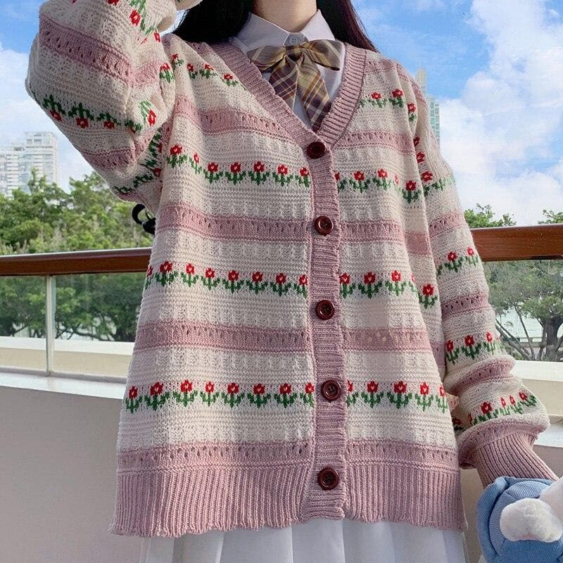 Knitted Cardigan with Floral Pattern - authentic Asian fashion from Korea, Japan and China.