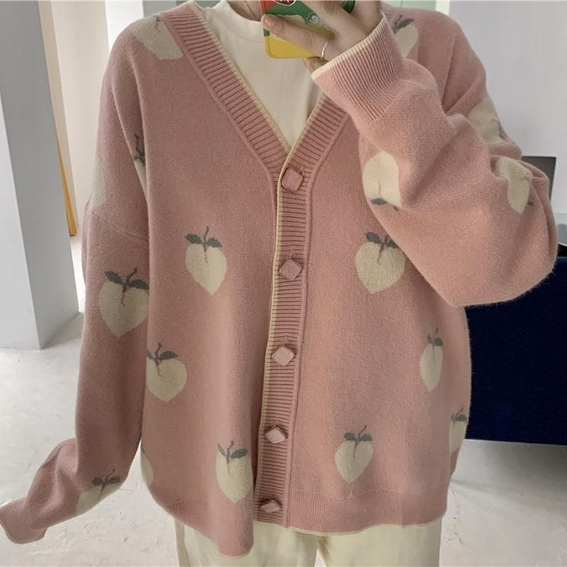 Cardigan with Peach Print and Rectangular Buttons - authentic Asian fashion from Korea, Japan and China.