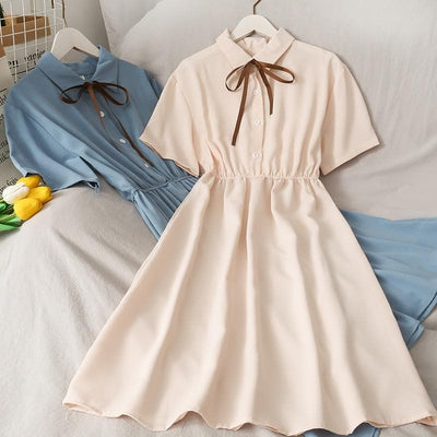 Collared Chiffon Dress with Short Sleeves - authentic Asian fashion from Korea, Japan and China.