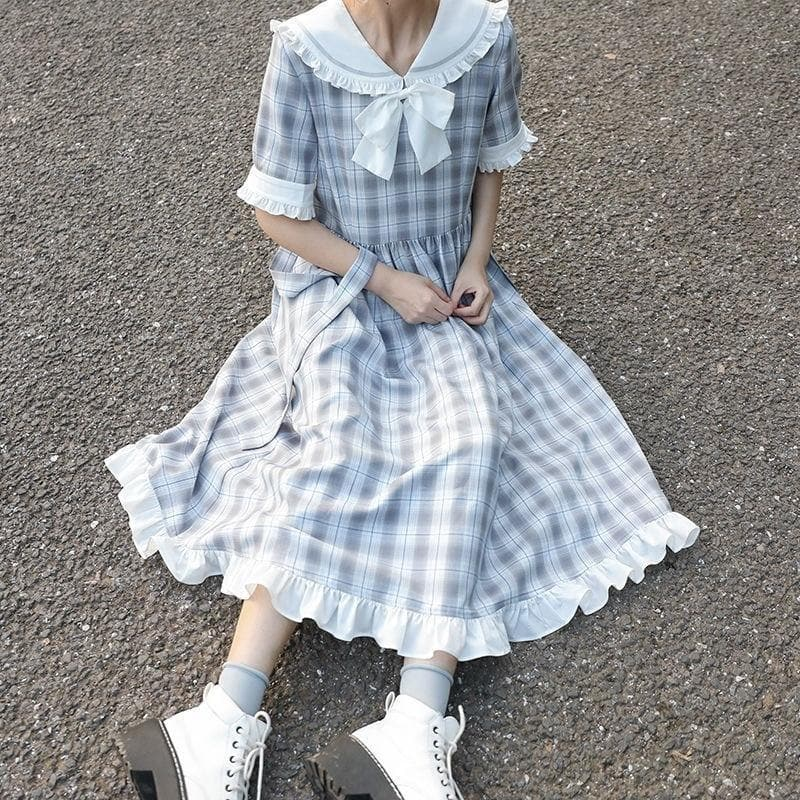 Plaid A-Line Dress With Ruffles and Ribbon (Short + Long Sleeves!)