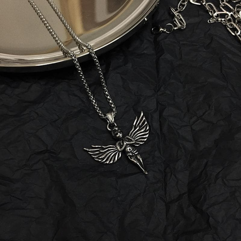 Silver Necklace With Angel Pendant