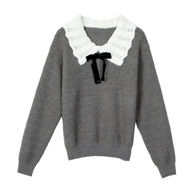 Knit Sweater With Crocheted Collar And Ribbon