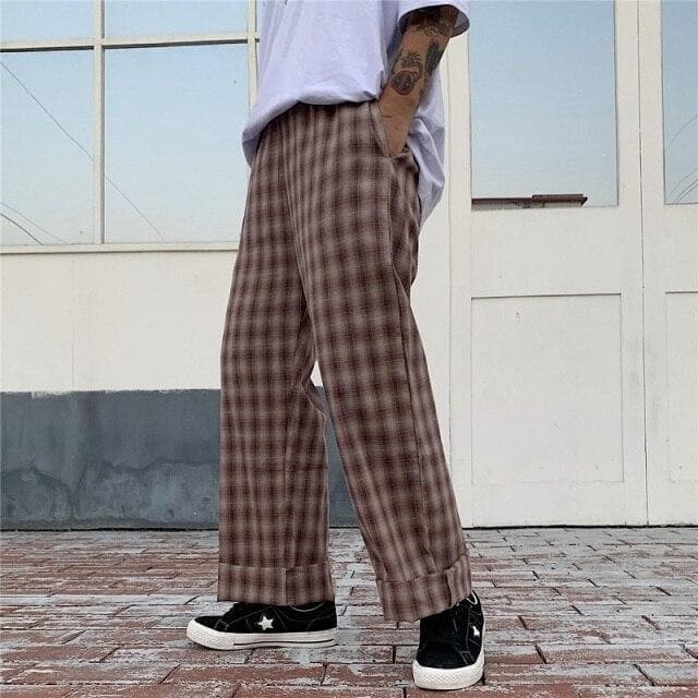 Wide-Leg Pants With Plaid Pattern