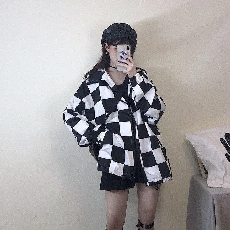 Longsleeve Jacket With Checkered Pattern